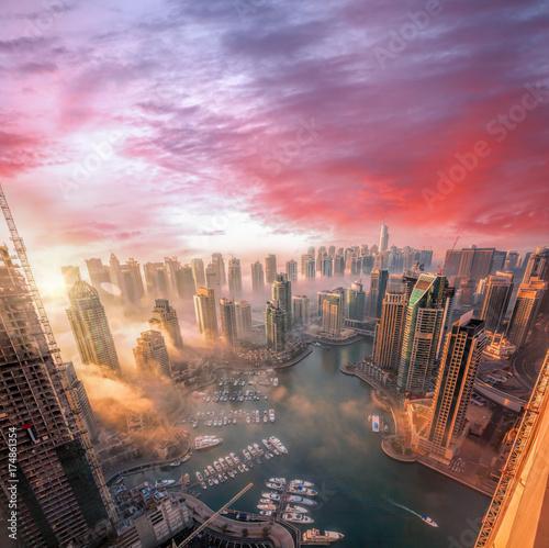 Recess Fitting Dubai Dubai Marina with colorful sunset in Dubai, United Arab Emirates