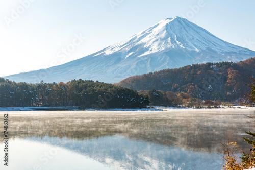 Snow Fuji Kawaguchiko late autumn