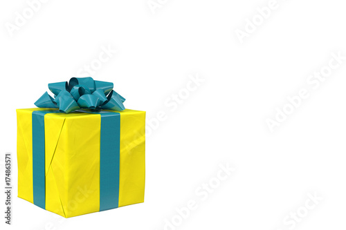 Fotografía  white background with yellow box with blue bow
