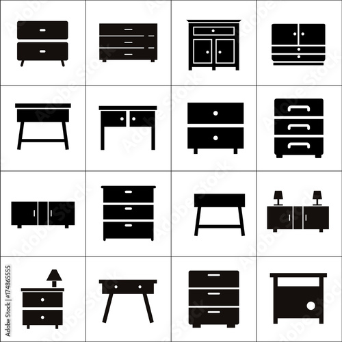 Chest of drawers vector icon. Furniture types. Bedroom ...