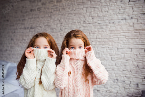 the red-haired twins hiding in knitted sweaters Canvas Print