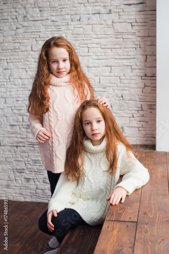 Photo  the red-haired twins in warm knitted sweaters