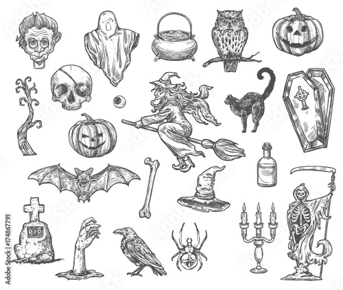 Halloween witch monsters vector sketch icons set Canvas-taulu
