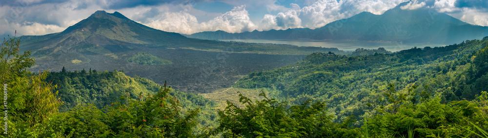 Fototapeta View of Mt Batur and Mt Anung volcanoes, Bali Indonesia