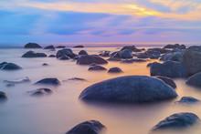 Beautiful Seascape Background, Rocks In The Irish Sea At Seascale Beach, Cumbria, England, United Kingdom