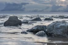 Moody Grey Seascape Background, Rock In The Irish Sea At Seascale Beach, Cumbria, England, United Kingdom