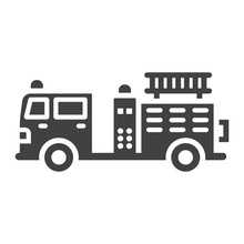 Fire Engine Glyph Icon, Transport And Vehicle, Fire Truck Sign Vector Graphics, A Solid Pattern On A White Background, Eps 10.