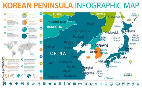 North Korea South Korea Japan China Russia Mongolia Map - Info ... on