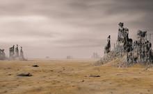 Desert Landscape With Ancient Ruins