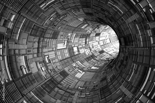 Plakat streszczenie science fiction tunelu technologii jasne światło na końcu (3d)