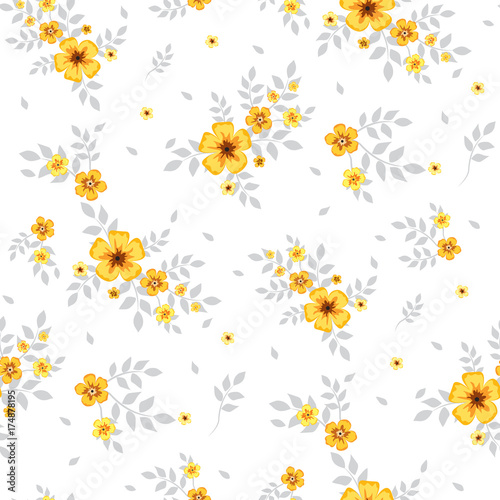 Seamless Floral Pattern Background In Small Yellow Flowers On A