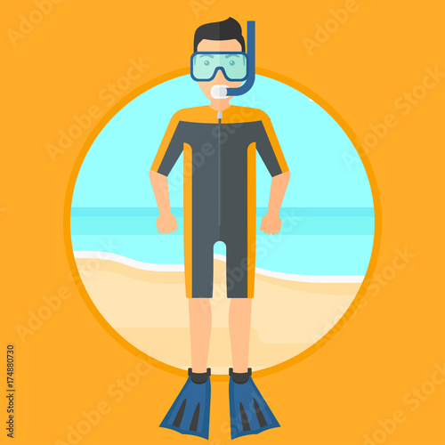 Man in diving suit, flippers, mask and tube standing on the beach. Male scuba diver on the beach. Young man enjoying snorkeling. Vector flat design illustration in the circle isolated on background. Wall mural