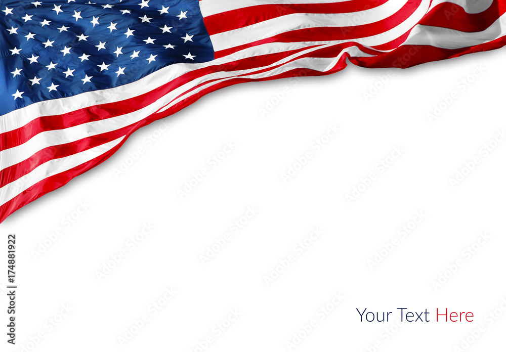 Fototapety, obrazy: American flag on white background