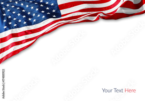 Photo  American flag on white background