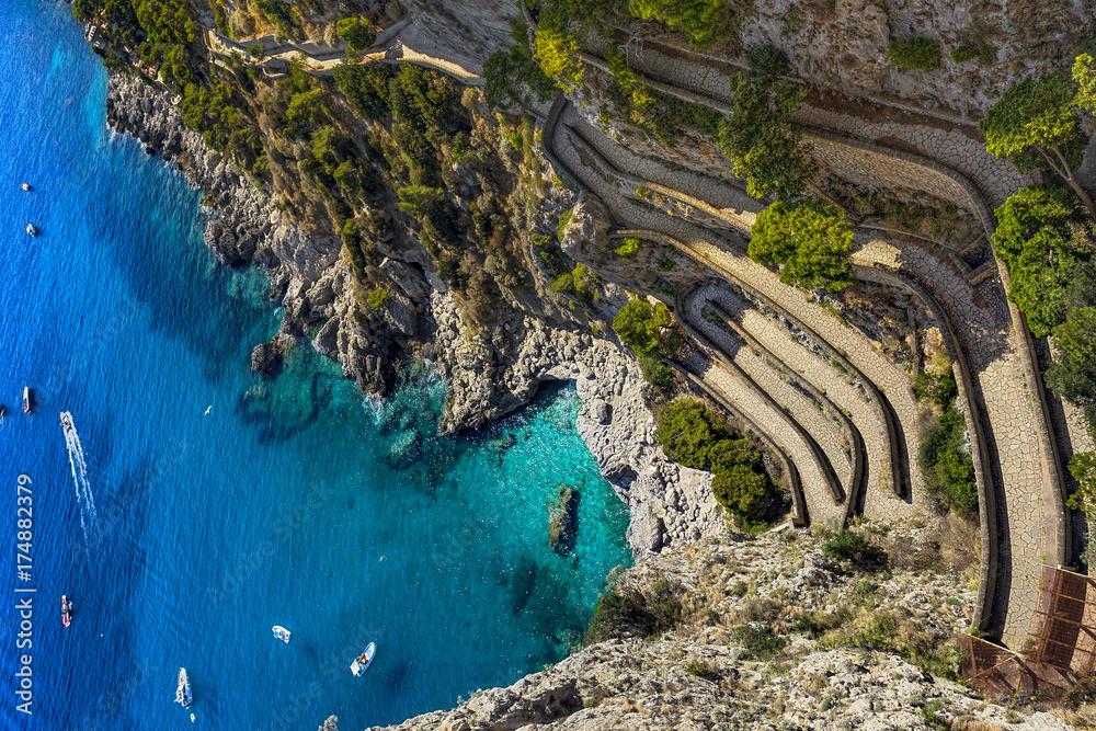 Fototapety, obrazy: Italy. Capri Island. Via Krupp seen from Gardens of Augustus