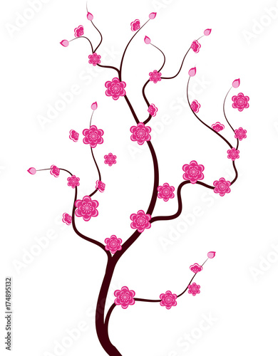 Printed kitchen splashbacks Watercolor Skull Vector Cherry blossom for Chinese New Year and lunar new year