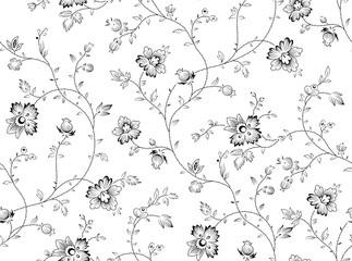 Panel Szklany Czarno-Biały seamless black and white floral pattern
