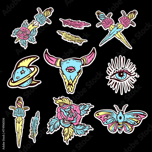 c4d99b008 Old school set of esoteric color tattoo elements. Skull bull, rose, knife,  butterfly, moon. Esoteric, sacred geometry tattoos, hand drawn vector