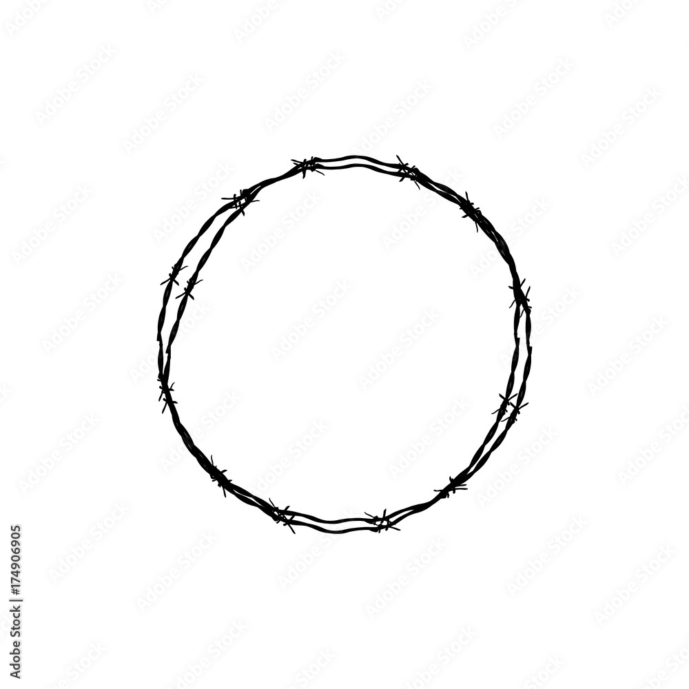 Fototapeta Barbed wire circle