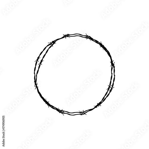 Fotomural  Barbed wire circle