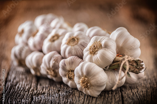 Garlic. Garlic bulbs. Fresh garlic on rustic oak table. Wallpaper Mural
