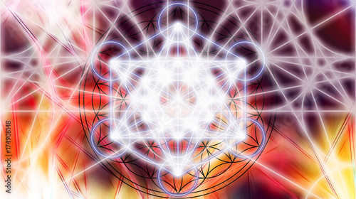 Canvastavla Light merkaba on abstract color background. Sacred geometry.