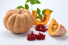 Fresh Pumpkin With Slices And ...
