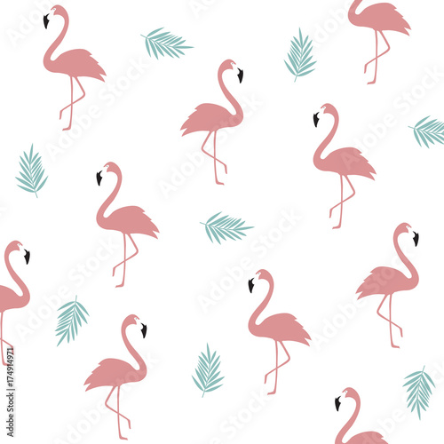 Canvas Prints Flamingo Bird Seamless flamingo pattern background. Flamingo poster design. Wallpaper, invitation cards, textile print vector illustration design