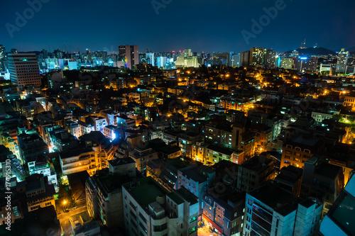 Fototapeta Nocny widok Gangnam Area w Seulu, w Korei. (Nocny widok na South Seoul)