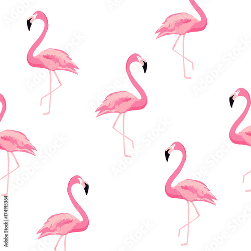 Bezszwowe tło wzór flamingo. Projekt plakatu flamingo. Tapeta, zaproszenia, tekstylnego druku wektorowy ilustracyjny projekt