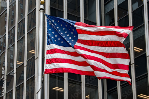usa flag in new york trump tower building Canvas Print