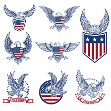 Set Of Emblems With Eagles And...
