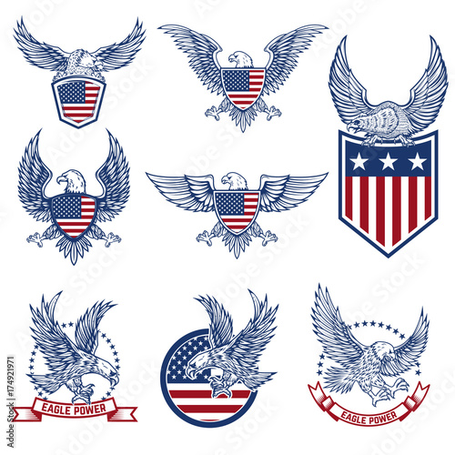 Set of emblems with eagles and american flags. Canvas Print