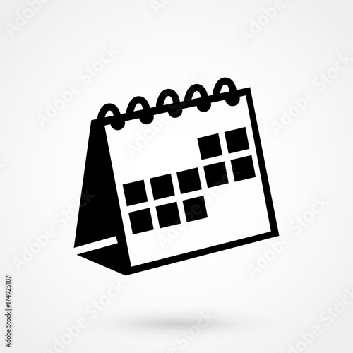 Valokuvatapetti Calendar Icon in trendy flat style isolated on grey background