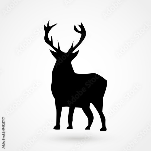Vector silhouette of the deer isolated on white background Canvas-taulu