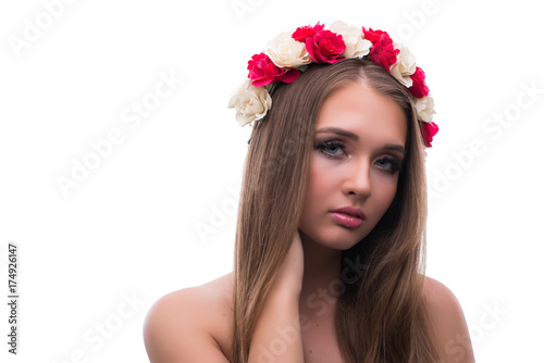 Deurstickers Akt Beautiful young female model with make up posing isolated on whi