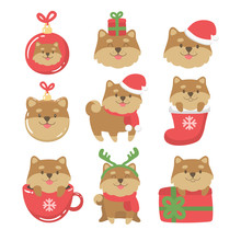 Big Set. Cartoon Dogs Cute Christmas Illustrations. Vector Design Element. Greeting Card, Icons, Prints, Stickers