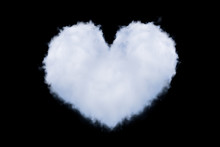 Heart Shaped Cloud Isolated On Black.