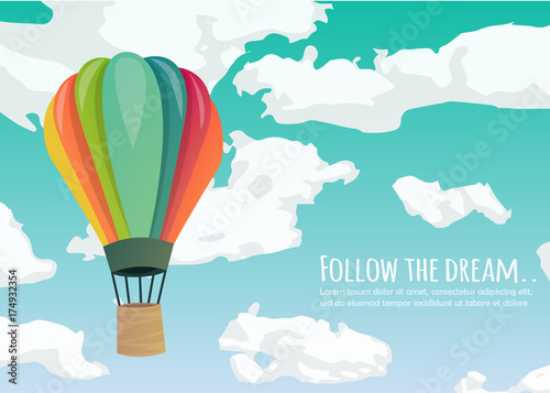 Tableau sur Toile Hot air balloon in the sky with clouds