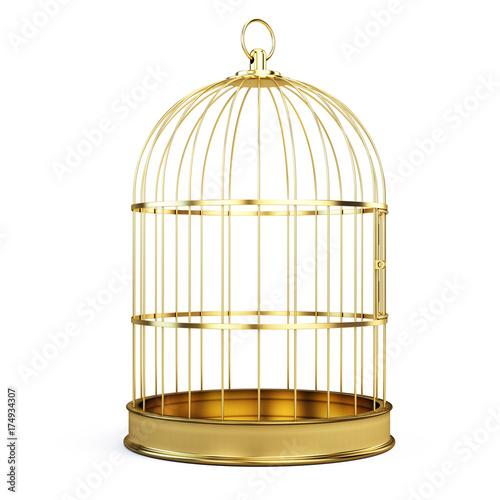 Fotografie, Obraz  Golden bird cage isolated on white background. 3d illustration