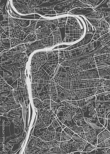 Prague city plan, detailed vector map Fotobehang