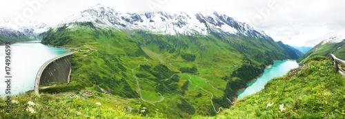 Plakat Panorama wysokogórskie tamy Mooserboden i wasserfallboden