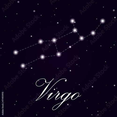 Zdjęcie XXL Znak zodiaku panna na białym tle na ciemnym tle. Ilustracja wektorowa