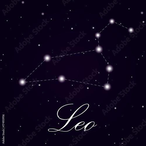 Zdjęcie XXL Znak zodiaku Leo na białym tle na ciemnym tle. Ilustracja wektorowa