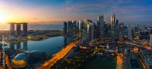 La pose en embrasure Singapoure Cityscape of Singapore city
