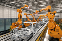 Robot Assembly Line In Car Fac...