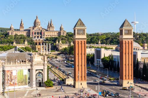 Foto auf Leinwand Barcelona Aeria view of barcelona city and plaza espanya ,Spain