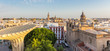 Aerial view of seville city skyline at sunset,Spain