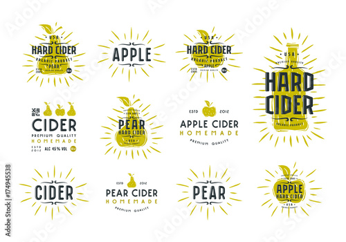 Fotografiet Set of hard cider label and logo