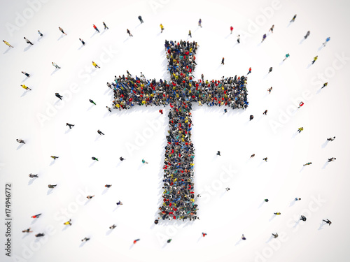 Fotografie, Obraz  Many people together in a crucifix shape. 3D Rendering